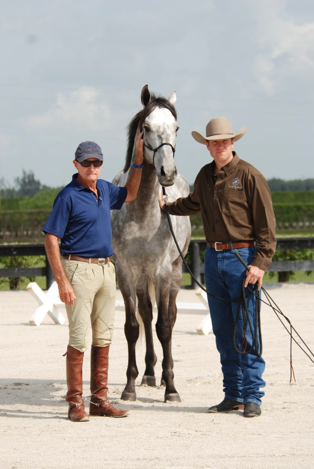 Here is a picture of George and Jonathan with Elvis, a 5 year old off-track thoroughbred that was provided to Jonathan for his portion of the dvd.  Elvis is an extremely sensitive horse who provided some great lessons!